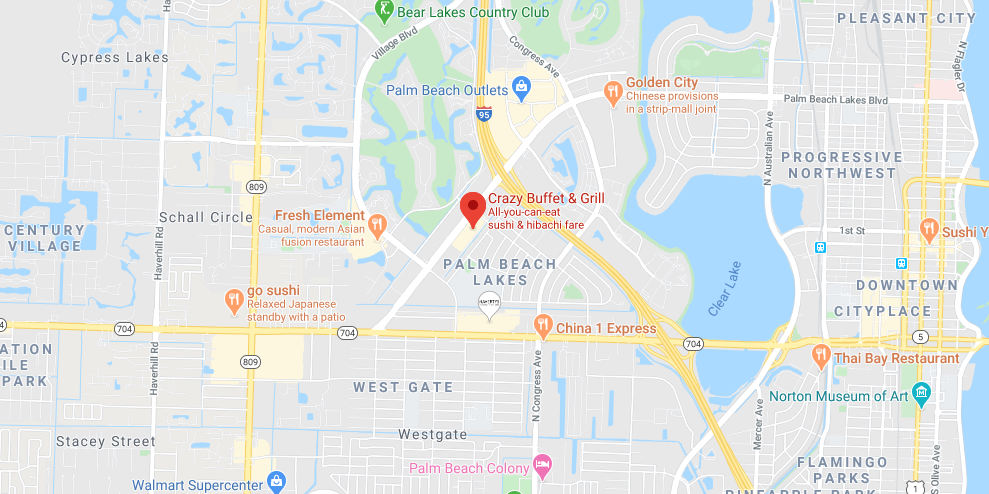 Google Map showing Crazy Buffet & Grill at 2030 Palm Beach Lakes Blvd, West Palm Beach, FL
